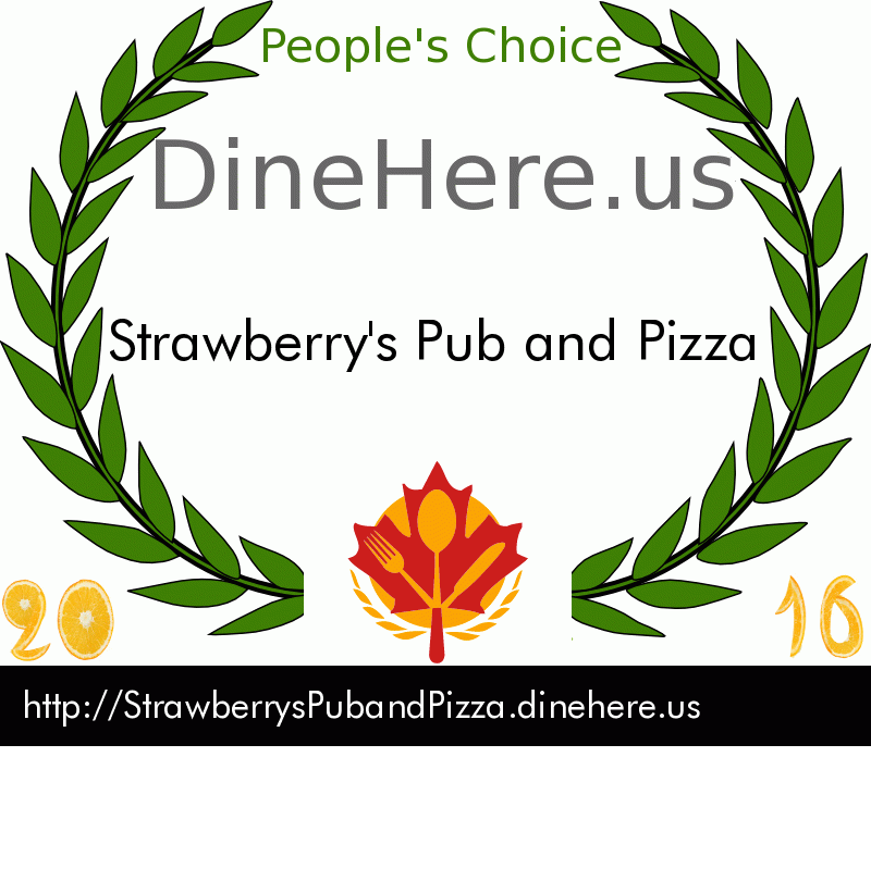 Strawberry's Pub and Pizza DineHere.us 2016 Award Winner
